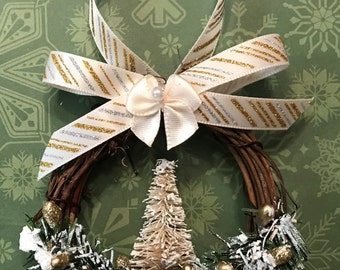 Christmas Ornaments White Christmas Ornaments Handmade Ornaments  White and Gold Christmas Ornaments Grapevine Ornaments