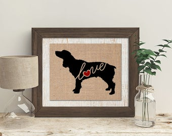 Boykin Spaniel - A Burlap Wall Art Print - Dog Lover Gift - Can Personalize With Name - Most Breeds Available - Rustic Silhouette (101s)