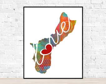Guam Love - Colorful Watercolor Style Wall Art Print & Home Country Map Artwork - Adoption, Moving, Engagement, Wedding Gift and More