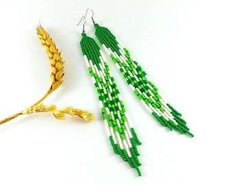 White green earrings Green jewelry gifts Clover earrings Green and white long earrings Long beaded earrings Long damgle earrings green gift