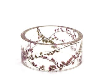 Pressed flowers sorrel herbarium resin bangle bracelet - Ø58mm 2.28""