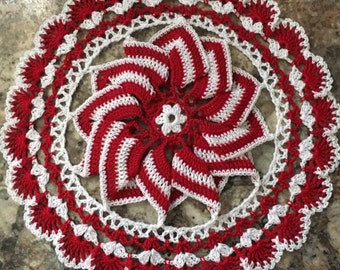 Christmas Peppermint Swirl Doily