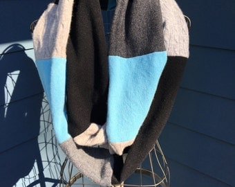 """Luxe Recycled 100% Cashmere Color Block Infinity Scarf - Blue/Black/Gray Patchwork - 5.5"""" x 88"""" Loop"""
