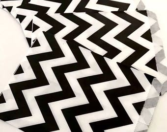 50 Black Chevron Party Favor Paper Bags Treat Gift Candy Bag