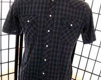 Rustler men's vintage blue brown plaid western cowboy rodeo pearl snap shirt large l