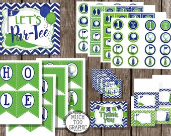 HOLE in ONE Boy's Boys Golf First Birthday Par-TEE Printables Golf Theme Party Blue Green Argyle Notecards Cupcake Toppers Food Tents Banner