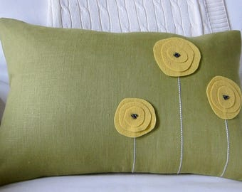 Mustard Yellow Wool Felt Poppy Flowers and Hand-Embroidered Stems on Avocado Green Linen Lumbar Pillow Cover