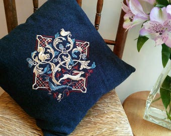 Cushion, Embroidered, WOODLAND, Hare, Pheasant, Squirrel, Mouse, Dove, Oak Tree, blue, Tweed, Cushion cover, handmade, Decorative pillow