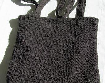 Black Crochet Shoulder Handbag, Purse. Convenient phone pocket, pouch.