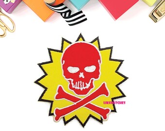 Red Skull Head Crossbones on Yellow Patch Ghost Halloween New Sew / Iron On Patch Size 9cm.x9.1cm.