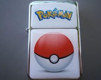 POKEMON POKEBALL star hand finished design oil flip windproof lighter Game pokeball iphone andriod cartoon