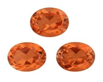 Imperial Orange Triplet Quartz Oval Cut Loose Set of 3 Gemstone 1A Quality 8x6mm TGW 4.40 cts.