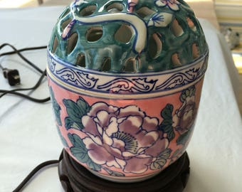 Vintage Oriental Asian Floral Reticulated Lamp/ nightlight with carved wood base