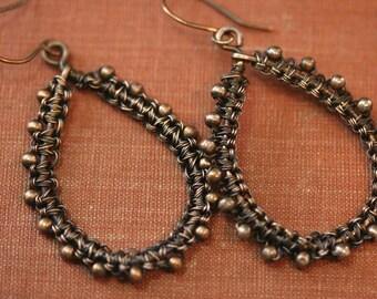 Copper Earrings, Teardrop Earrings, Copper Teardrop Earrings, Copper Weave Earrings, Copper Teardrop Weave Earrings, Paisley Earrings #1186