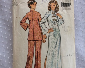 1972 Simplicity Pattern # 5375 Look Slimmer Tunic and Pants, Misses Size 18 1/2