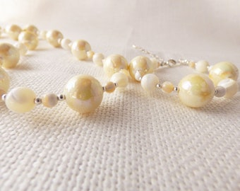 Mother of Pearl, Necklace, Braclet and Earring Set