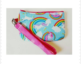 Unicorn wristlet, zipper pouch, coin purse, or cellphone case