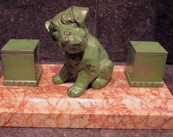 French Art Deco spelter marble inkwell dog puppy LE VERRIER FAYRAL circa 1930