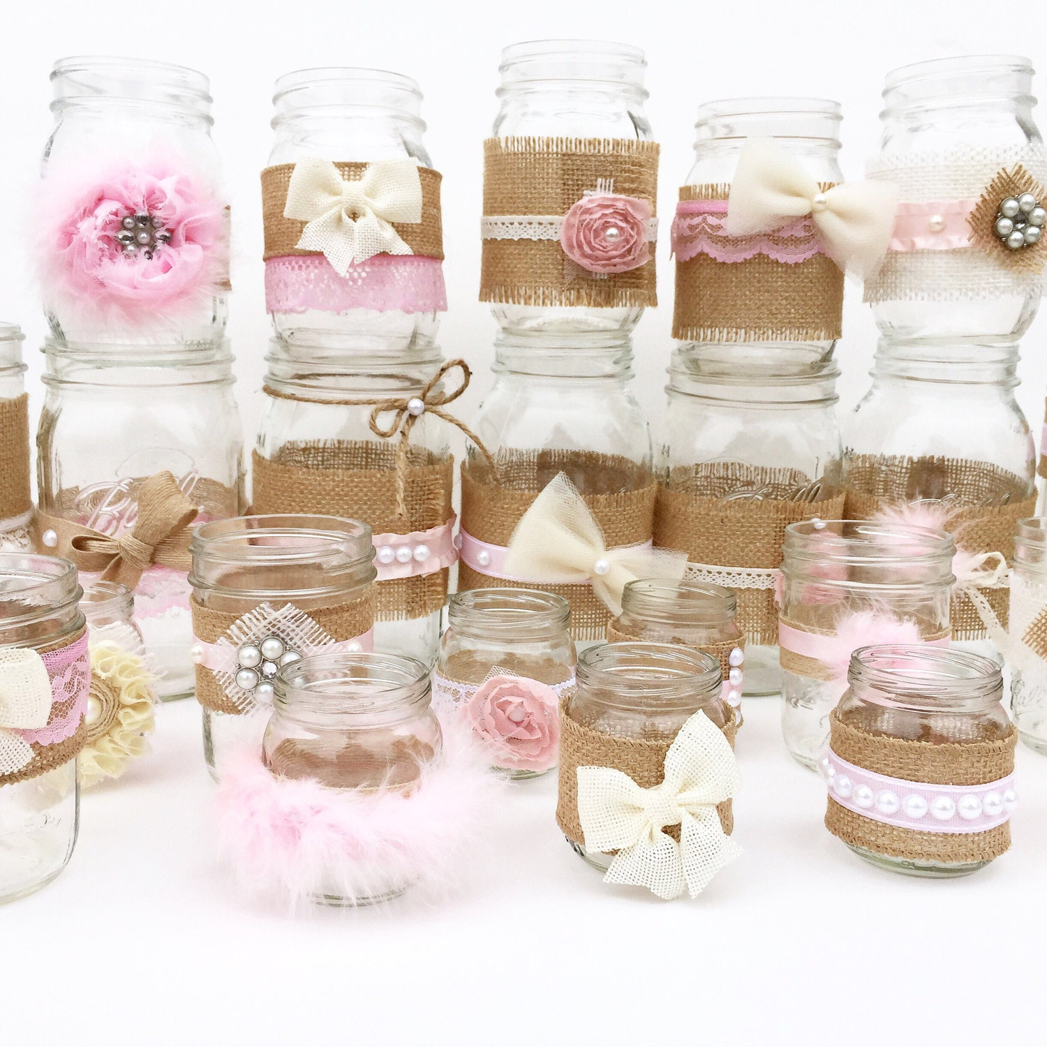 Set of shabby chic mason jars rustic baby shower