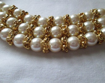 Richelieu Faux Pearl Multi Strand Necklace