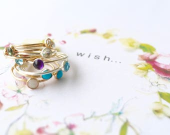 Dainty Gemstone Stacking Skinny Rings/ Birthstone Stacking Gemstone Rings/ Bridesmaid Gift Ideas/ Dainty Skinny Rings/Bare and Me Collection