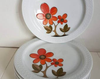 Vintage//scherzer bavaria germany//Set of 6 dishes//breakfast//flowers//second hand dealer//retro//in good condition.