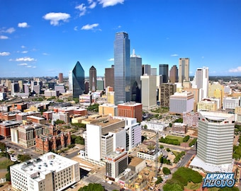"Downtown Dallas Photograph, Color Photography, Skyline Photo, Wall Art, Art Print, Blue Sky, City Life, ""Sunny Day In Dallas"""