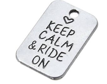 """5 pieces  """"Keep calm......."""" Tibetan silver charm US Shipper Mailed Quickly!"""