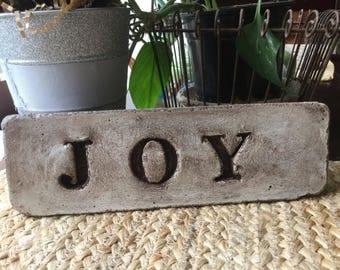 """10 1/2 x 3 1/2 concrete garden stone """"JOY """""""
