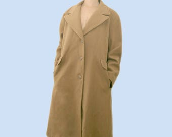 Vintage Camel Coat~Size Medium/Large~50s 60s 70s 80s 90s Tan Beige Wool Long Trench Thick Jacket~By Willow Ridge