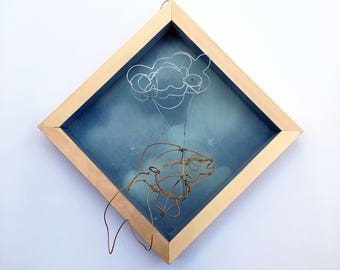 Daydreaming Goldfish, Handpainted Clouds with a Flying Goldfish, Wire Art