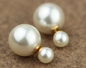 Pearl Double Sided Earrings,pearl gold Stud earring,bubble earring,steel colour earring,Ear Jacket,
