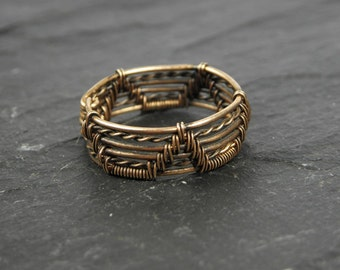 Man ring Aergar woven in Bronze