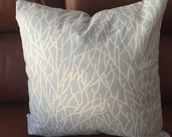 DECORATIVE PILLOW-Vine Pattern, zipper enclosure, seafoam green and cream color