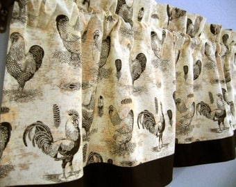 Rooster Chicken Kitchen Valance Curtain Black Boarder