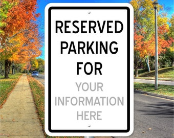 Custom Parking Sign | 18 in x 12 in | Aluminum Parking Sign | Personalized Parking Sign | Price includes shipping.