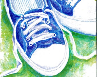 Sneakers fine art print / Summer sneakers painting / summertime painting / acrylic painting print of sneakers in the grass