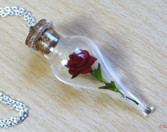 Rose necklace,bronze necklace,nickel and lead free,red rose,glass vial,enchanted rose,handmade paper rose,unique necklace,woodland,terrarium