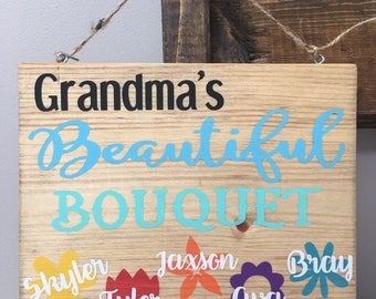 Grandma's Beautiful Bouquet personalized sign, flower sign, wood wall decor, 8x10 sign, Mother's Day gift, gift for Mom, gift for Grandma