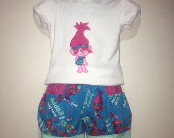 Girls Trolls Poppy Outfit Shirt Tshirt Shorts Pink Polka Dot Girl Girls Baby Toddler Boutique Bubble Shorts with Side Pocket! Birthday Party