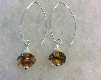 Amber swirl lampwork sterling silver earrings.