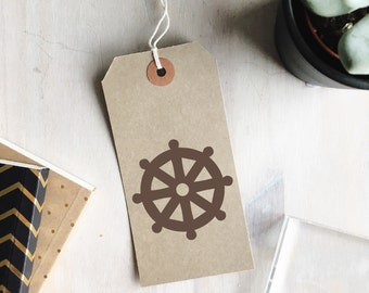 Dharma Stamp | Buddhist Symbol - Buddhism - Dharma Wheel Symbol - Religious Symbol