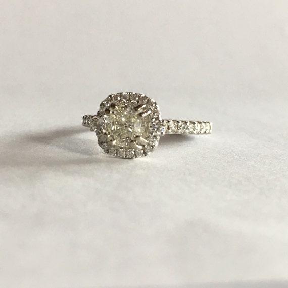 Halo Engagement Ring 1 Carat Cushion Cut Diamond White Gold