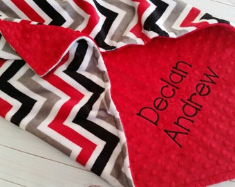 Personalized Minky Baby Blanket, Boy Baby Blanket, Red and Black Blanket, Arizona Cardinals Blanket, Case IH Baby , Stroller Blanket