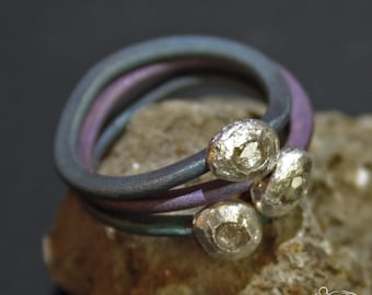 Anodized titanium triptyque rings with silver and diamonds