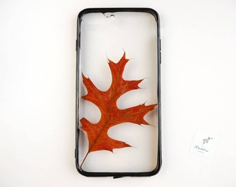 iPhone 7 PLUS / iPhone 8 PLUS phone case with a real pressed leaf in red and black
