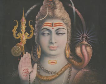 Lord Siva ... Antique Indian Hindu poster print