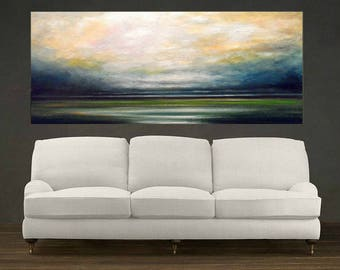 Storm over Wetlands Landscape, Original Extra Large Abstract Oil Painting, Wall Decor, Fine Art, Wall Art, Home Decor, Office Decor