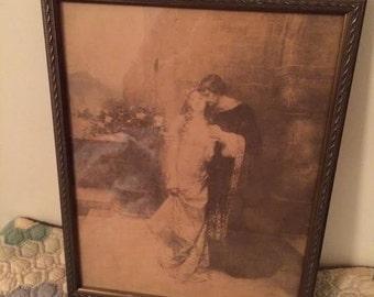 Antique Vintage 1904 W.L. Taylor Arthur and Guinevere Print
