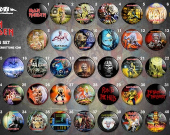 Collection sheet Iron maiden / / Iron maiden button collection